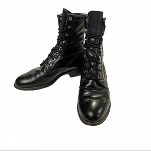 Justin Combat Boots Black Leather Vintage Size 5B